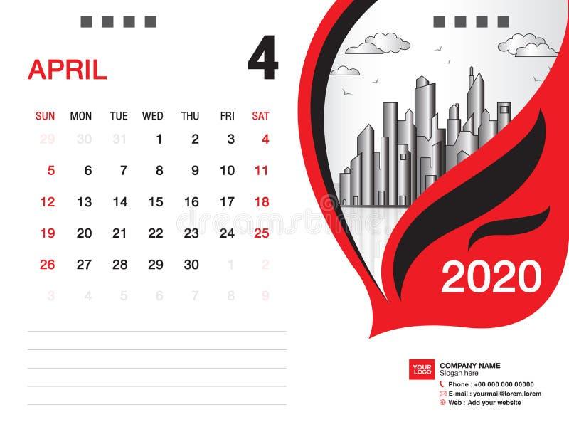 Tischkalender2020 Schablonenvektor, IM APRIL 2020 Monat, Gesch?ftsplan, 8x6 Zoll, Woche beginnt Sonntag, Briefpapierentwurf vektor abbildung