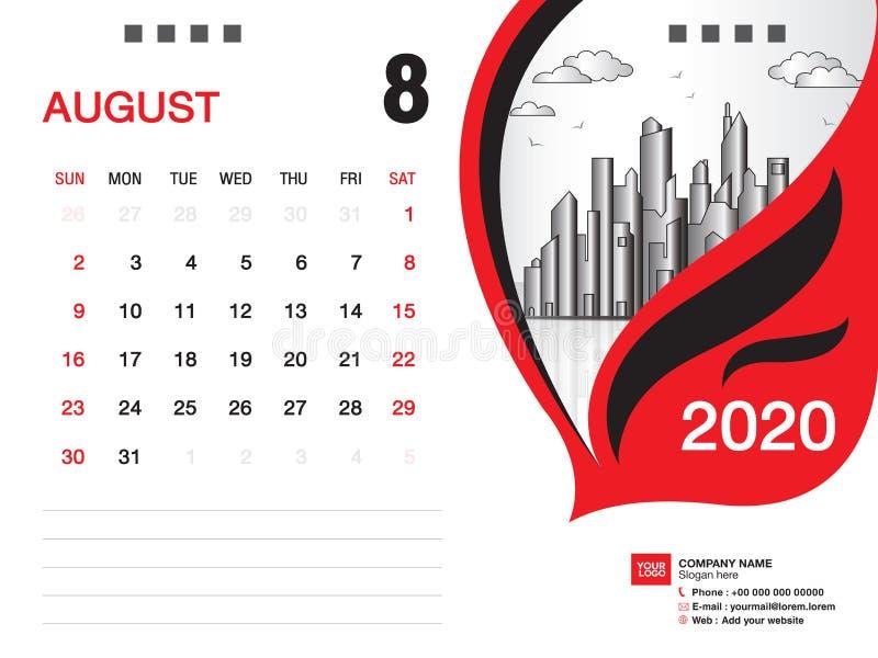 Tischkalender2020 Schablonenvektor, IM AUGUST 2020 Monat, Gesch?ftsplan, 8x6 Zoll, Woche beginnt Sonntag, Briefpapierentwurf lizenzfreie abbildung
