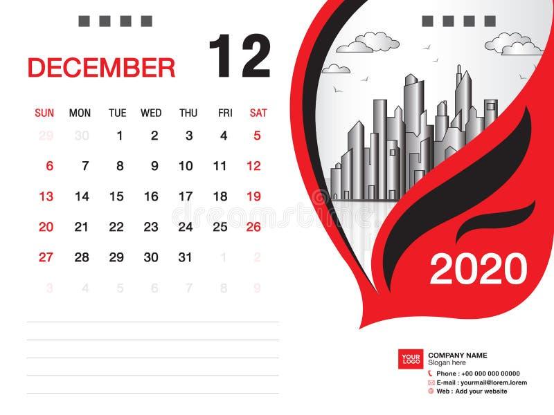 Tischkalender2020 Schablonenvektor, IM DEZEMBER 2020 Monat, Geschäftsplan, 8x6 Zoll, Woche beginnt Sonntag, Briefpapierentwurf lizenzfreie abbildung