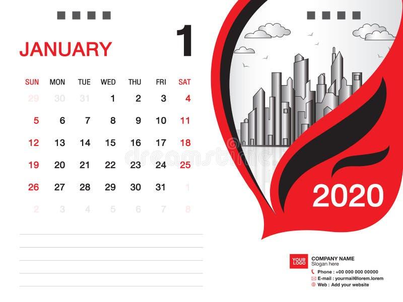 Tischkalender2020 Schablonenvektor, IM JANUAR 2020 Monat, Gesch?ftsplan, 8x6 Zoll, Woche beginnt Sonntag, Briefpapierentwurf vektor abbildung