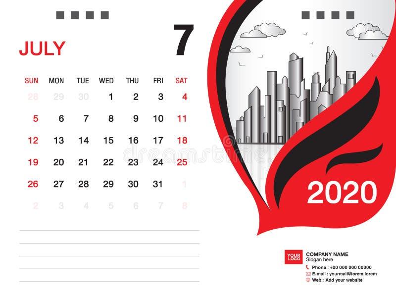 Tischkalender2020 Schablonenvektor, IM JULI 2020 Monat, Gesch?ftsplan, 8x6 Zoll, Woche beginnt Sonntag, Briefpapierentwurf stock abbildung