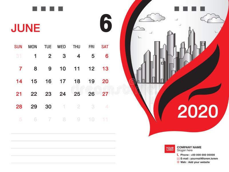Tischkalender2020 Schablonenvektor, IM JUNI 2020 Monat, Gesch?ftsplan, 8x6 Zoll, Woche beginnt Sonntag, Briefpapierentwurf vektor abbildung