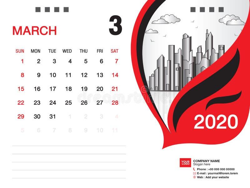 Tischkalender2020 Schablonenvektor, IM M?RZ 2020 Monat, Gesch?ftsplan, 8x6 Zoll, Woche beginnt Sonntag, Briefpapierentwurf stock abbildung