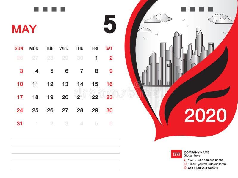 Tischkalender2020 Schablonenvektor, IM MAI 2020 Monat, Gesch?ftsplan, 8x6 Zoll, Woche beginnt Sonntag, Briefpapierentwurf lizenzfreie abbildung