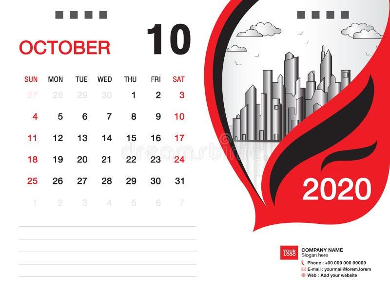 Tischkalender2020 Schablonenvektor, IM OKTOBER 2020 Monat, Gesch?ftsplan, 8x6 Zoll, Woche beginnt Sonntag, Briefpapierentwurf vektor abbildung