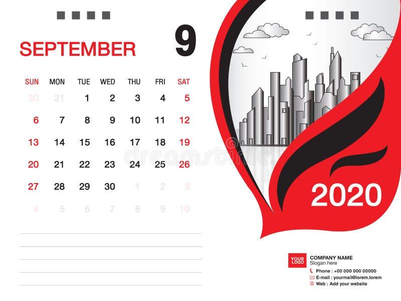 Tischkalender2020 Schablonenvektor, IM SEPTEMBER 2020 Monat, Gesch?ftsplan, 8x6 Zoll, Woche beginnt Sonntag, Briefpapierentwurf stock abbildung