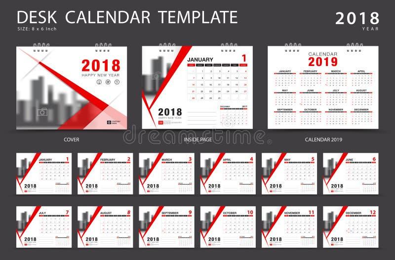 Tischkalenderschablone 2018 Satz von 12 Monaten vektor abbildung