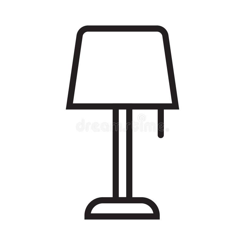 Tischlampeikonenschwarz-Vektorillustration lizenzfreie abbildung