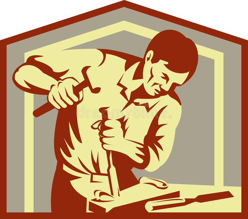 Tischler am Arbeitsmeißeln lizenzfreie abbildung