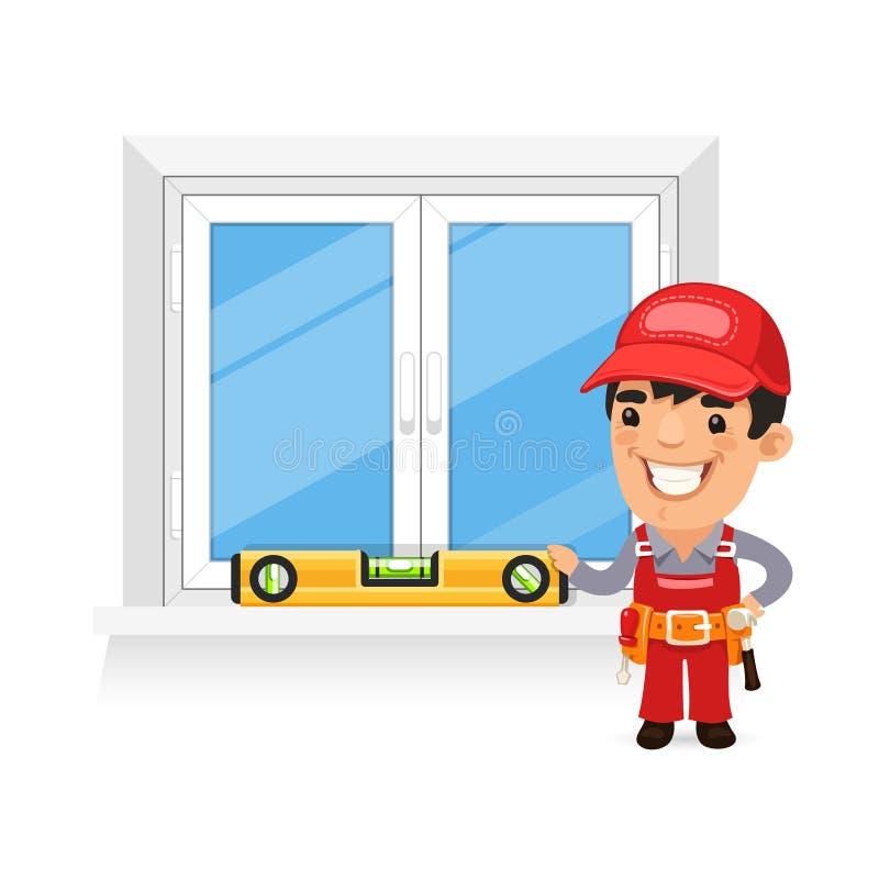 Tischler Checks das neue Fenster lizenzfreie abbildung