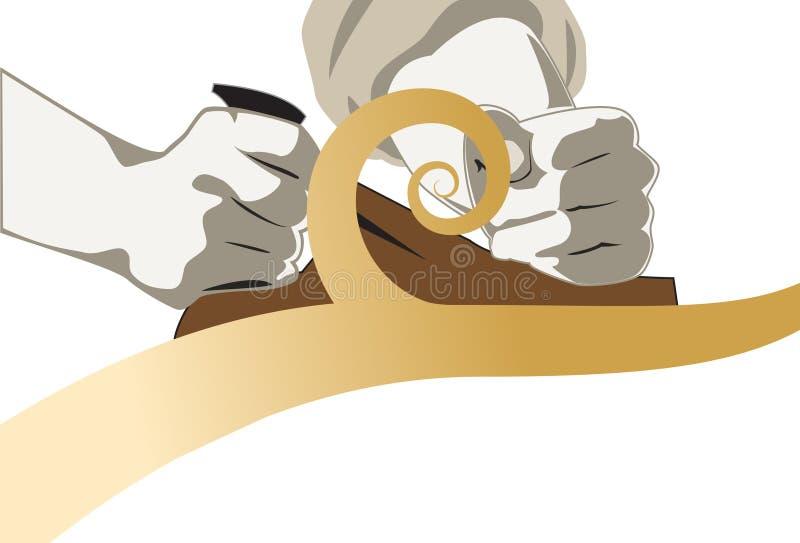 Tischler-Hände mit einem hölzernen Hobel vektor abbildung