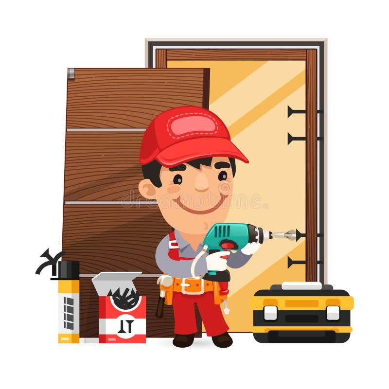 Tischler Installs die Tür stock abbildung