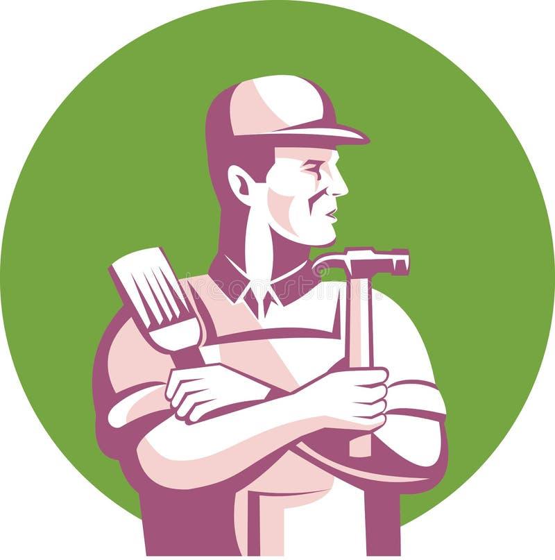 Tischler-Maler-Bauarbeiter stock abbildung