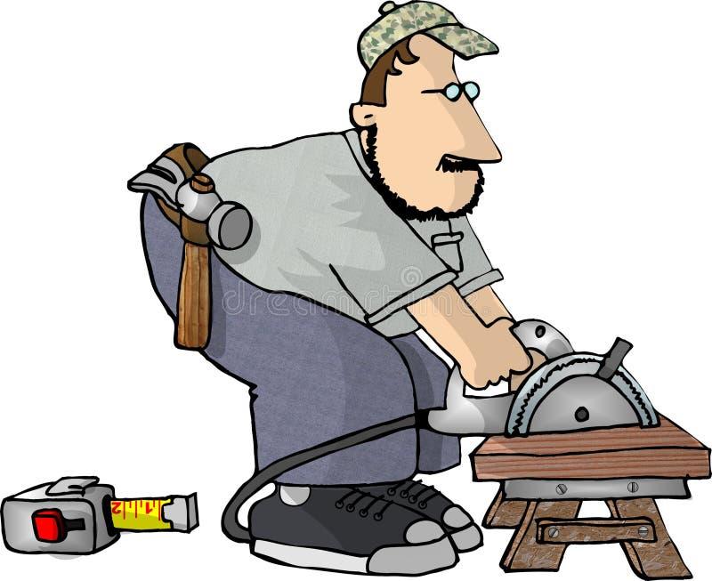 Download Tischler Mit Einer Leistungsäge Stock Abbildung - Illustration von mann, spaß: 40599