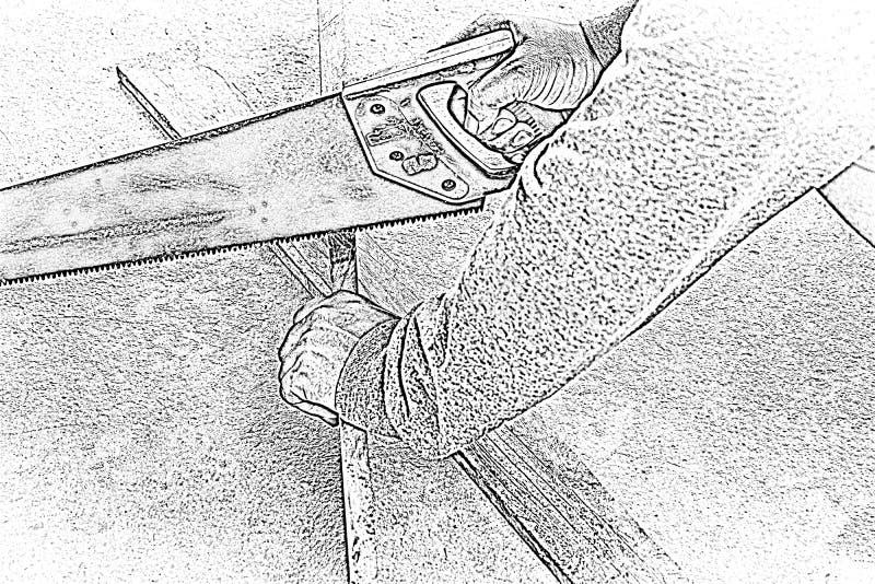 Tischler Sketh männliches Sawingholz Am Arbeitsplatz Hintergrundhandwerkerwerkzeug Herein summen 1 laut lizenzfreie stockfotografie