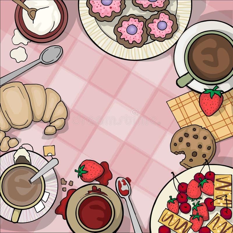 Tischplatte angesehen von der Spitze, mit Tee vektor abbildung