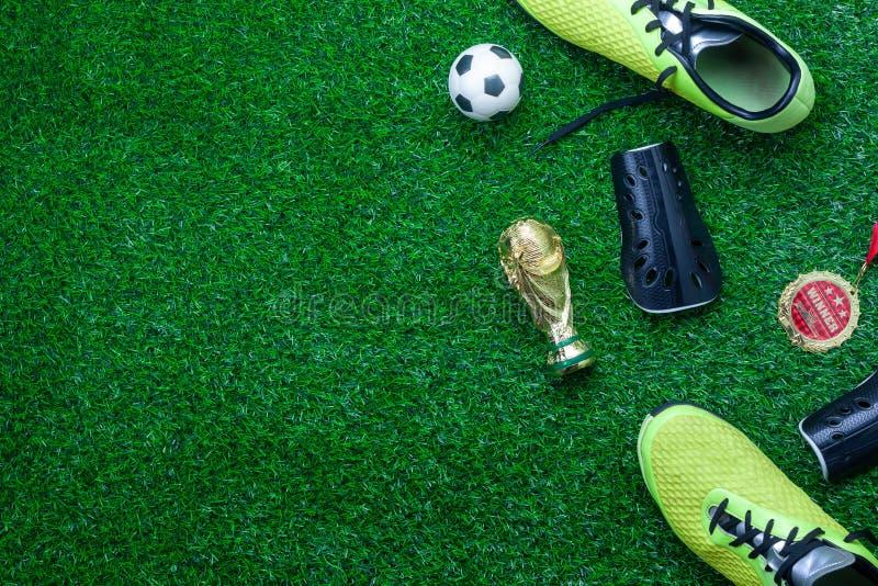 Tischplatteansicht des Fußball- oder Fußballweltcupjahreszeithintergrundes stockbilder