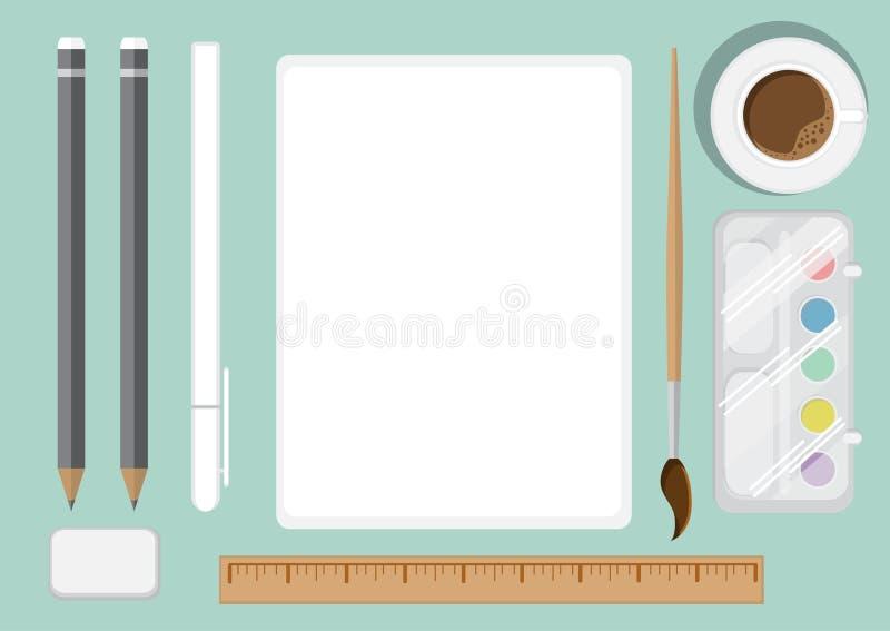 Tischplatteansicht des Künstlers s flach Schreibtisch mit einem leeren Blatt des Papiers stock abbildung