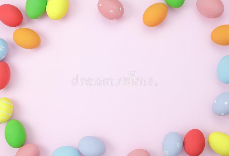 Tischplatteansichtbild schoss von Anordnungsdekoration glücklichem Ostern-Feiertag lizenzfreie stockbilder
