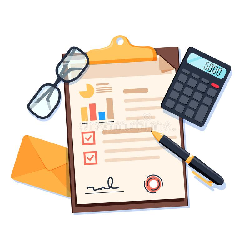Tischplattenansicht mit Dokumenten, Smartphone und Taschenrechner und Lupe lizenzfreie abbildung