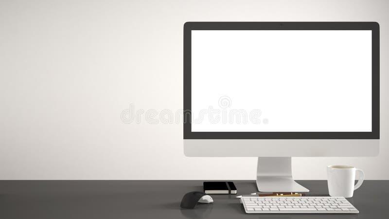 Tischplattenmodell, Schablone, Computer auf grauem Arbeitsschreibtisch mit leerem Bildschirm, Tastaturmaus und Notizblock mit Sti stockfoto