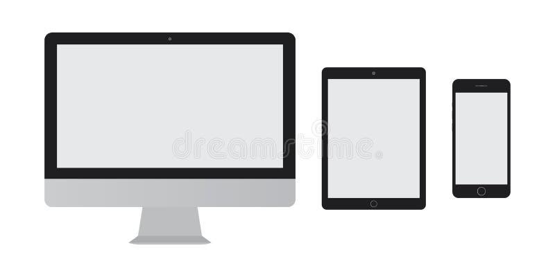 Tischplattenschirmcomputer, Tablette mit grauem Schirm und Smartphone mit leerem Schirmsatz vectro eps10 stock abbildung