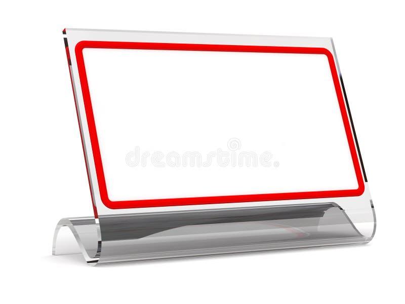 Tischplattentablette in einem Glasfeld   stock abbildung