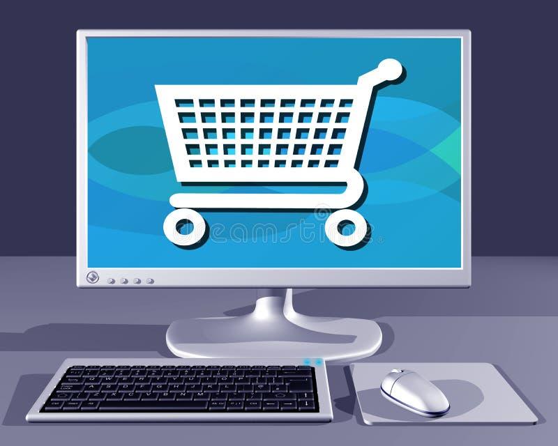Tischrechner, der das Internet-Einkaufen zeigt stock abbildung