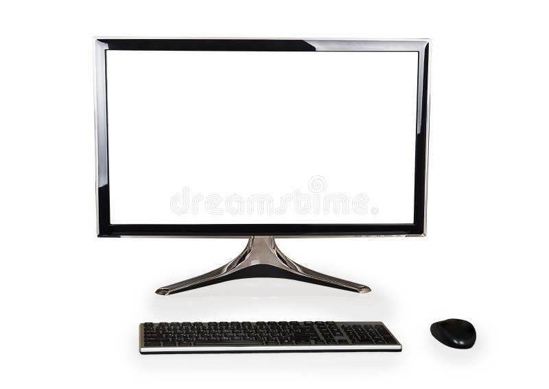 Tischrechner mit weißem leerem Bildschirm und Tastatur und Maus stockbild
