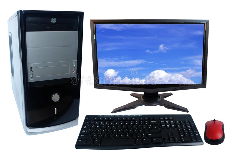 Tischrechner-PC-Satz, Monitor, Tastatur und drahtlose Maus lokalisiert auf Weiß lizenzfreies stockfoto