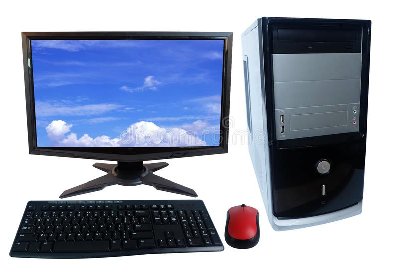 Tischrechner-PC-Satz, Monitor, Tastatur und drahtlose Maus lokalisiert auf Weiß lizenzfreie stockfotografie