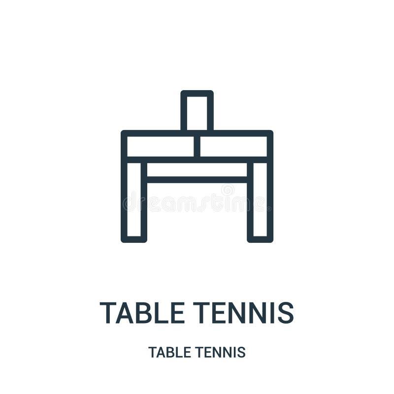 Tischtennis-Ikonenvektor von der Tischtennissammlung Dünne Linie Tischtennis-Entwurfsikonen-Vektorillustration Lineares Symbol fü lizenzfreie abbildung
