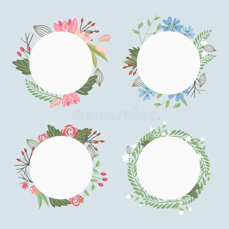 Set of pastel colored romantic floral frames for your text on blue background royalty free illustration