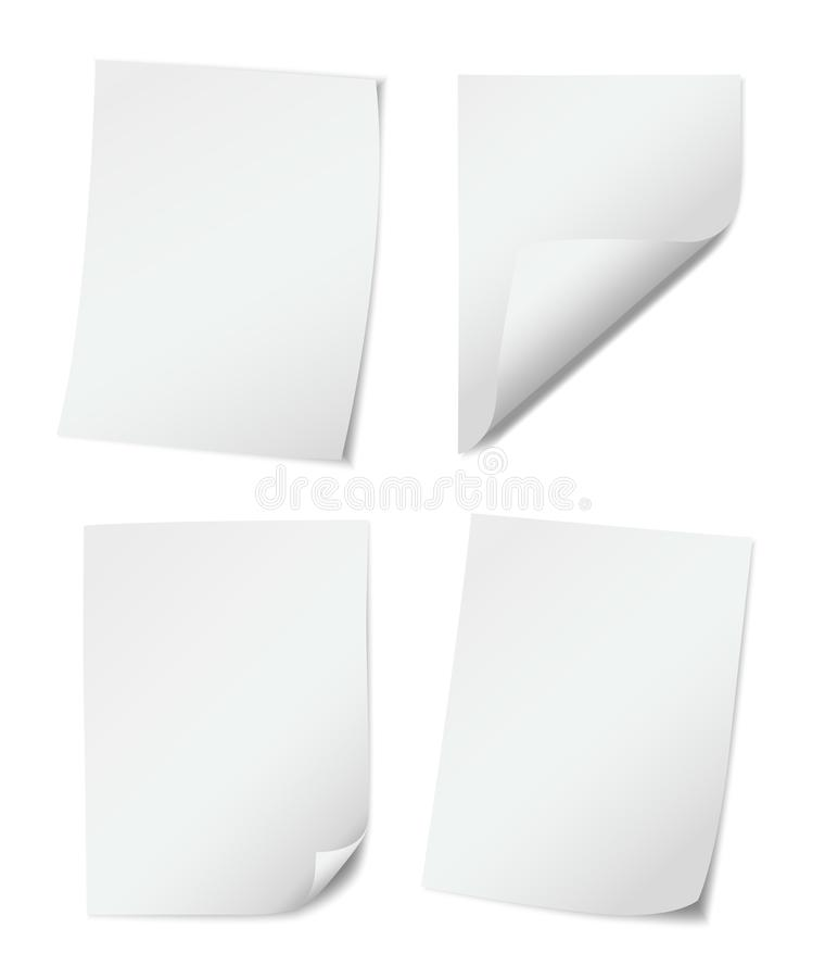Set of four white empy paper pages with rolled edges on white background.  vector illustration