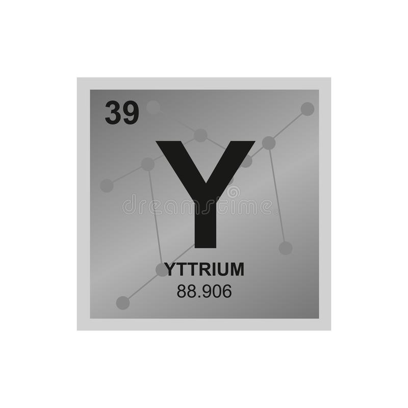 Vector chemical symbol of yttrium from the periodic table of the elements on the background from connected molecules. royalty free illustration