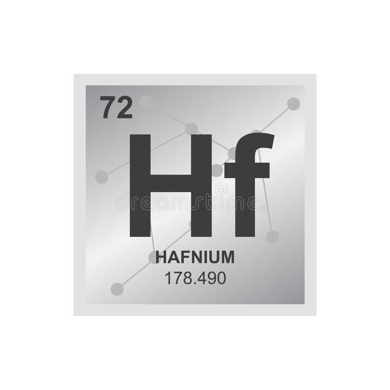 Vector symbol of hafnium on the background from connected molecules stock illustration