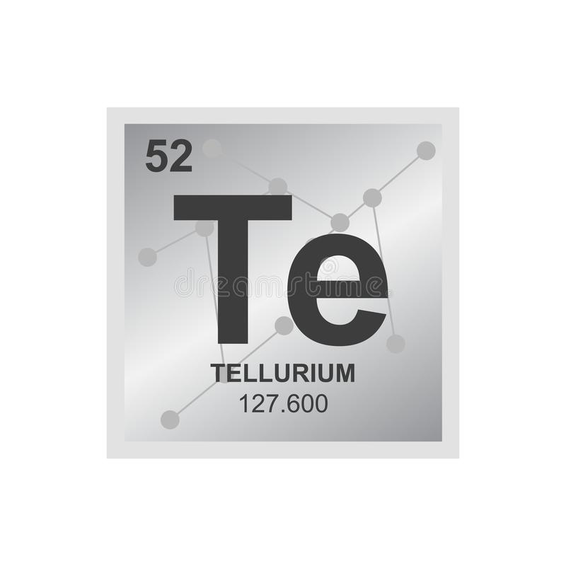 Vector chemical symbol of tellurium from the periodic table of the elements on the background from connected molecules. royalty free illustration
