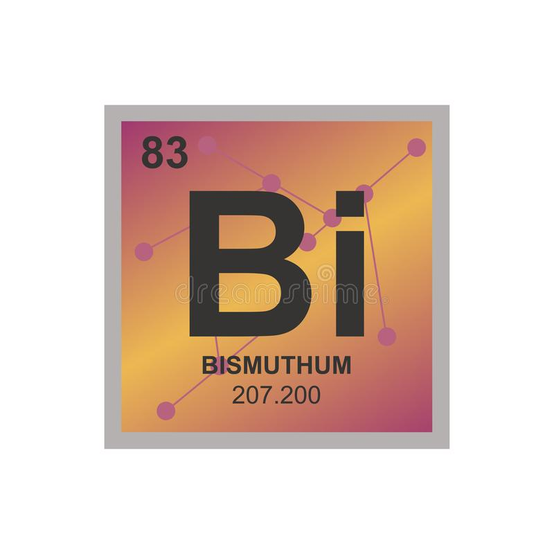 Vector symbol of bismuth on the background from connected molecules vector illustration