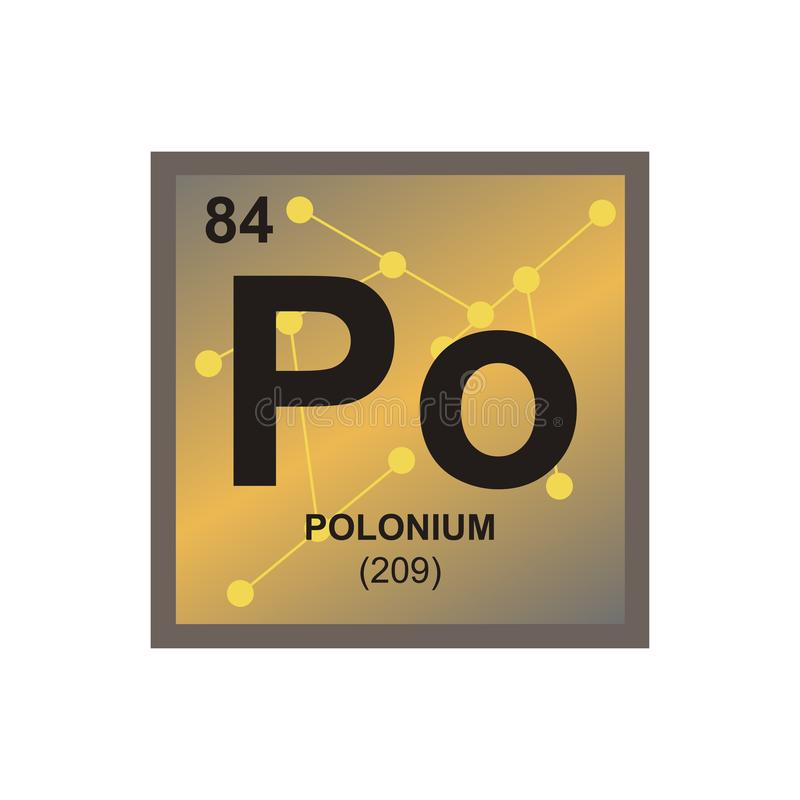 Vector symbol of polonium on the background from connected molecules royalty free illustration