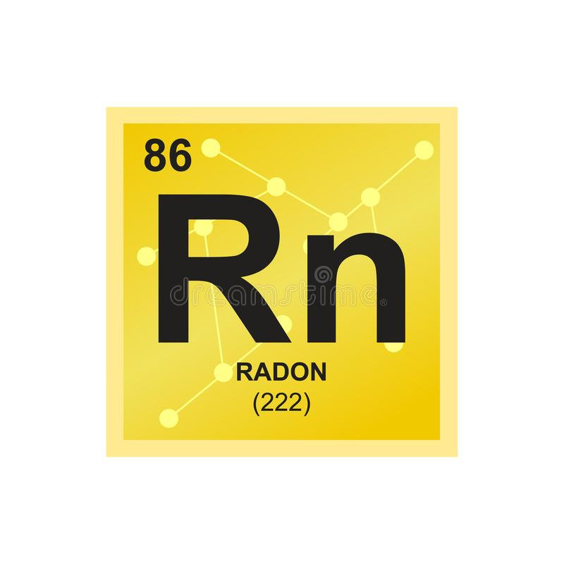 Vector symbol of radioactive radon on the background from connected molecules vector illustration