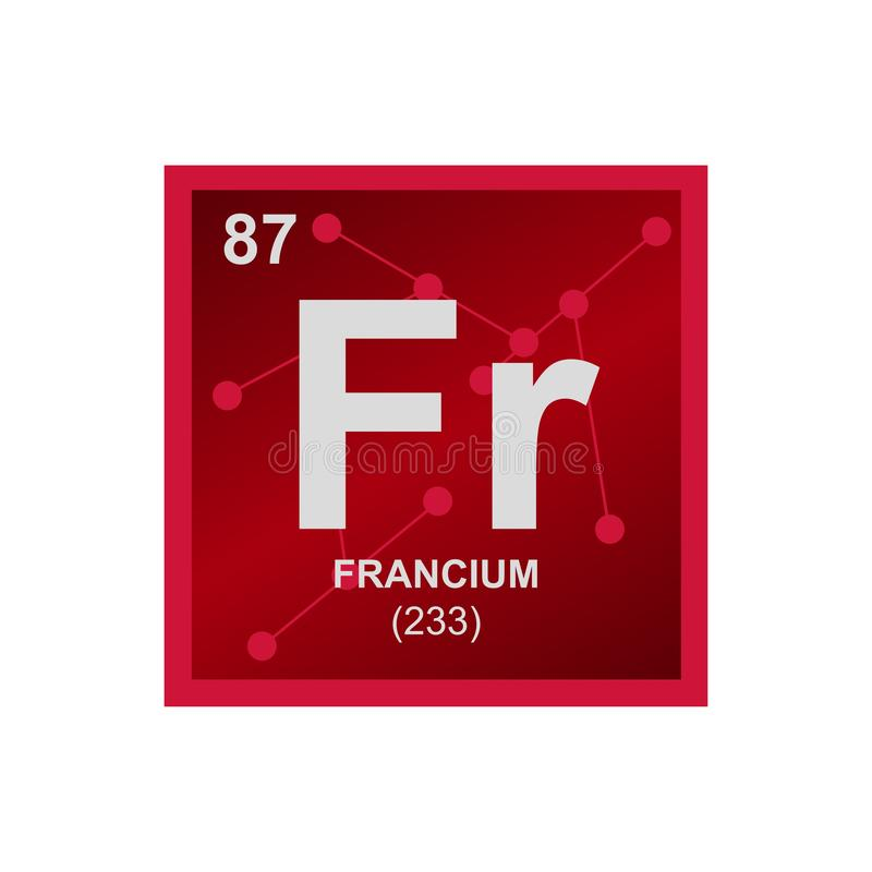 Vector symbol of francium on the background from connected molecules vector illustration