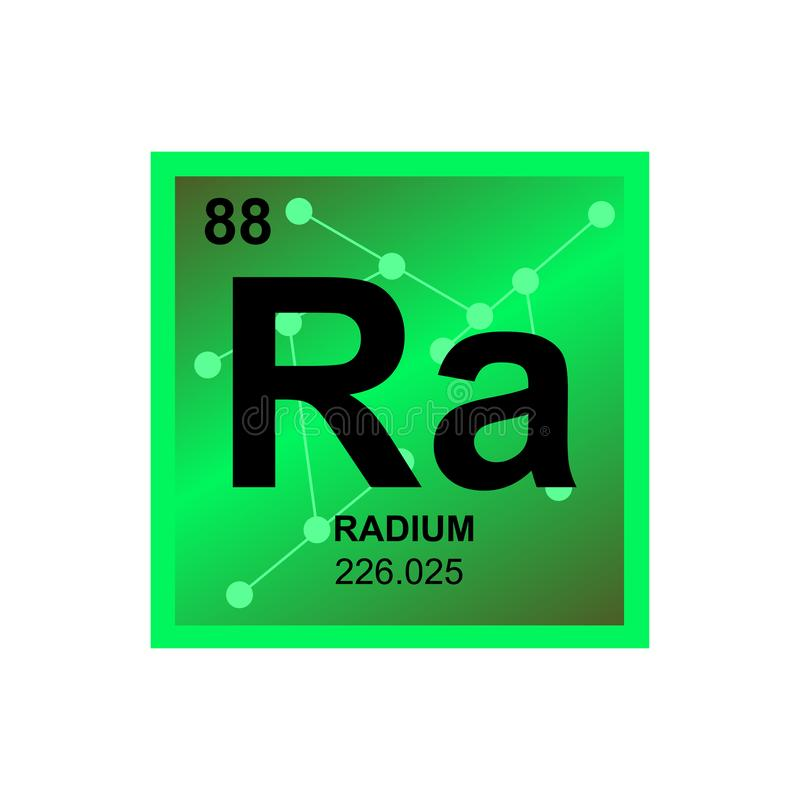 Vector symbol of radium on the background from connected molecules royalty free illustration