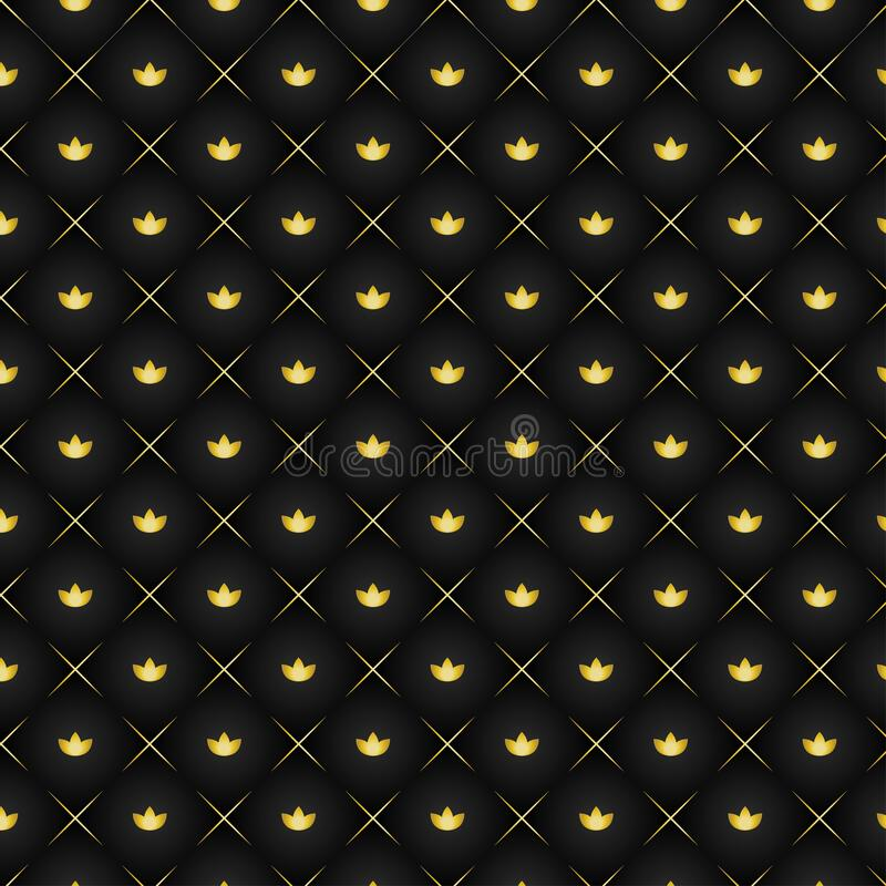 Blackand  gold texture with floral and lines. Black gold crown texture, with floral theme and lines, shiny background royalty free illustration