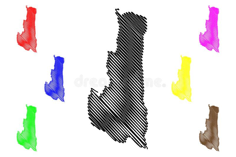 Chin State map vector. Chin State Administrative divisions of Myanmar, Republic of the Union of Myanmar, Burma map vector illustration, scribble sketch Chin map royalty free illustration