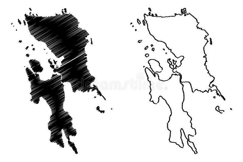Eastern Visayas Region map vector. Eastern Visayas Region Regions and provinces of the Philippines, Republic of the Philippines map vector illustration, scribble royalty free illustration