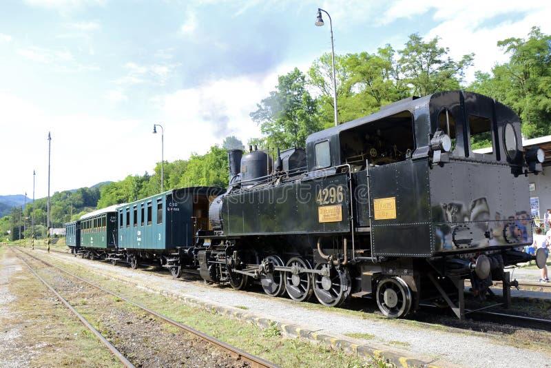 Tisovec, Eslovaquia - 7 6 2019: Ferrocarril de estante histórico foto de archivo libre de regalías