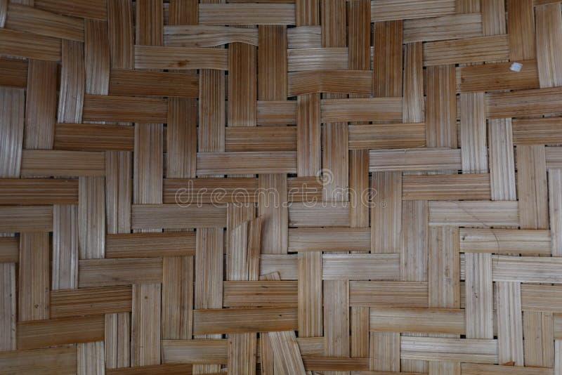 Tissage de bambou ou de paille fond en bois de texture de panier image libre de droits