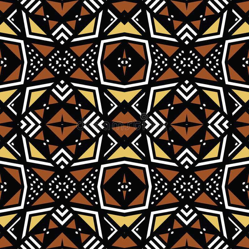 Tissu africain d'impression, éléments géométriques bologan ethniques de motifs de conception, ethniques et tribals Texture de vec illustration libre de droits