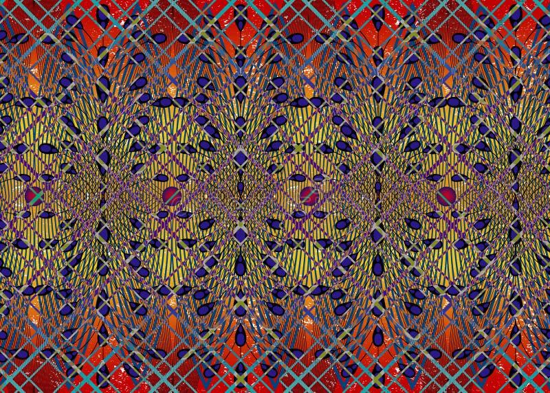 Tissu africain d'impression, ornement fait main ethnique pour vos ?l?ments g?om?triques de motifs de conception, ethniques et tri illustration de vecteur