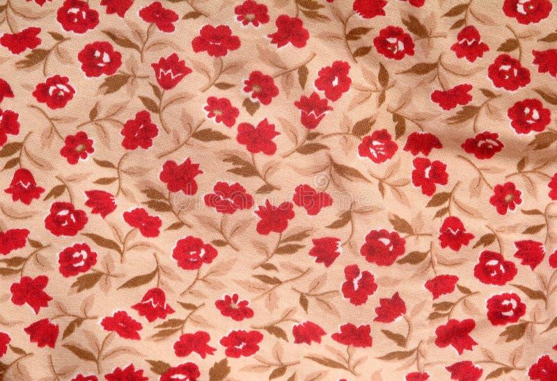 Tissu avec la configuration florale rouge image stock